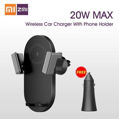 Caricabatterie wireless per auto Xiaomi ZMI con supporto per telefono 20 W Ricarica rapida per telefono cellulare per Huawei iPhone iPad