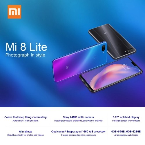 Global Version Xiaomi Mi 8 Lite Face ID Mobile Phone