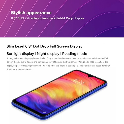 Xiaomi Redmi Note 7 Mobile Phone 6.3inich Display 4GB RAM 64GB ROM 48MP Camera Snapdragon 660 4000mAh Battery 4G Unlocked Smartphone PZ0465BL-US-4