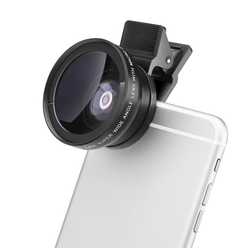 MACTREM 37mm 2 in 1 in fibra ottica di telefono vetro lente 0,45 X lente 12.5 X Macro-obiettivo grandangolare per iPhone 6 6S 6 Plus 6S Plus iPad mini aria Samsung S6 S7 S7 bordo Smartphone Tablet lega telaio durevole