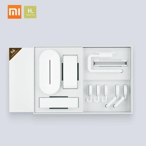 Xiaomiウォッシュセット7 in 1洗面所用粘着ウォールフックアタッチメントトゥースブラシソープバスルームペーパートイレットペーパーホルダーロールホルダーオーガナイザーボックス電話棚