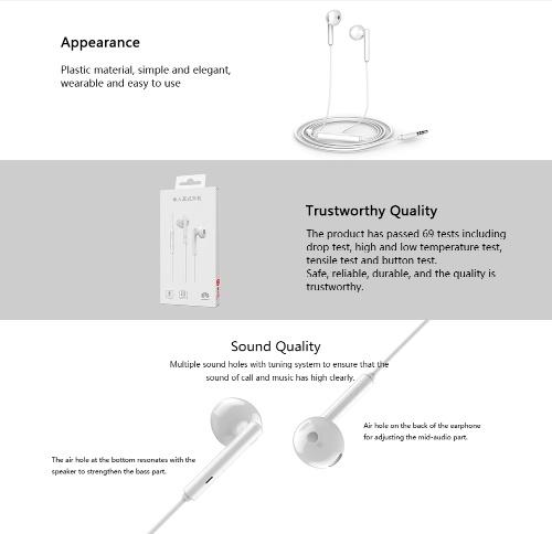 HUAWEI AM115 Earphone 3.5mm In-Ear Earbud Headset Wired Controller Headphone for HUAWEI Smartphone