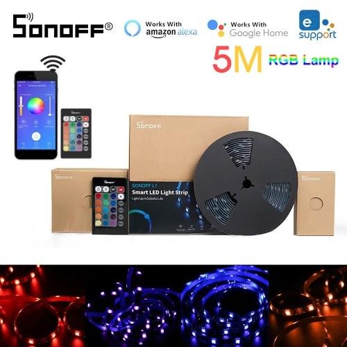 Sonoff l1 tira de luz led inteligente 2 m rgb dimmable à prova d 'água wifi flexível luzes de tira para o partido de atividades ao ar livre trabalho com o google Alexa