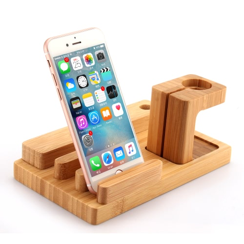 All in 1 Bamboo Charging Stand Holder