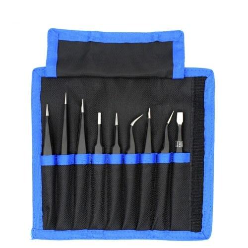 9pcs ESD pinzas conjunto de acero inoxidable antiestático de precisión antideslizante pinzas electrónicas de reparación de teléfonos móviles Kit de herramientas