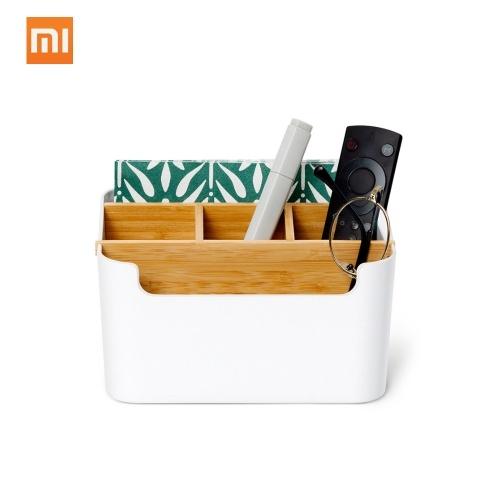 Xiaomi organizador de escritorio de almacenamiento de cosméticos de fibra de bambú bolígrafos papelería organizador de maquillaje contenedor para oficina escritorio en casa