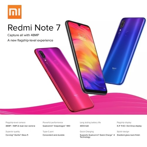 Xiaomi Redmi Note 7 Mobile Phone 6.3inich Display 6GB RAM 64GB ROM 48MP Camera Snapdragon 660 4000mAh Battery 4G Unlocked Smartphone PZ0465BL-US-6