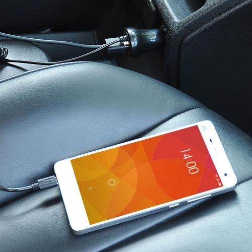 HUNDA Intelligente IC 1 Porta USB Caricatore d'Auto 5V 1A con Cavo Micro USB Allungabile per Apple Samsung Smartphone