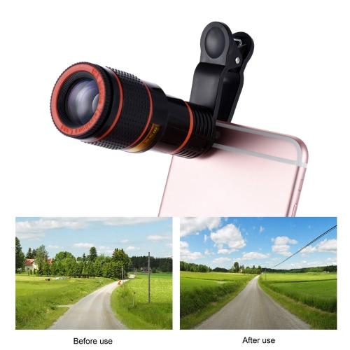 Universal 12X Zoom Mobile Phone Clip-on Telescope Camera Lens for iPhone 6S 6 plus Samsung S7 S6 edge Smartphones