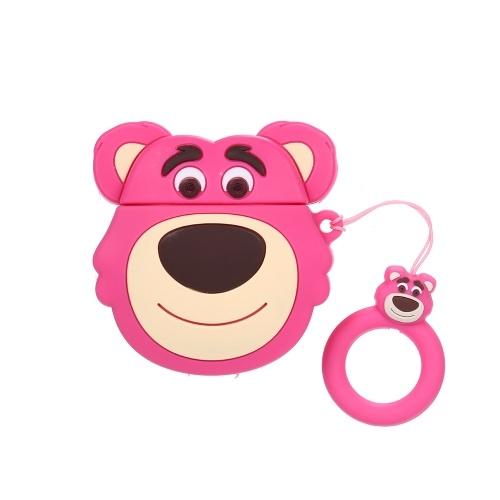 Tragbare niedlichen Cartoon 3D Pink Monkey Clamshell-Typ Silica Gel Kopfhörer Hülle für 1/2 Generation wiederaufladbare Airpods