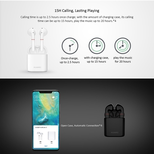 HUAWEI FreeBuds 2 Wireless Earphone Voice Assistant Wireless Charge BT5.0 IP54 Waterproof Headphones Double Tap Control 15 Hours Calling Headset with Microphone for HUAWEI Smart Phones