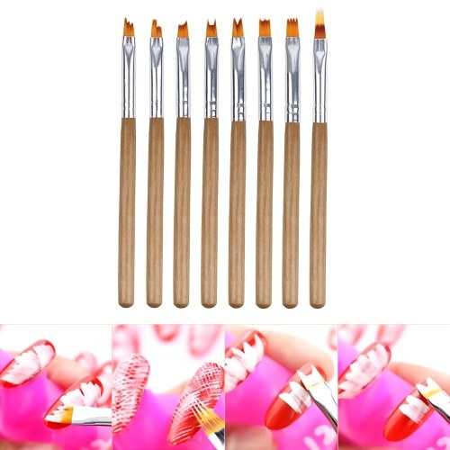 Nail Polish Brush Decorative Nail Painting Pen Drawing Brush for Nails 8PCS Nail Art Tool Wood Pen Nylon Brush Hair