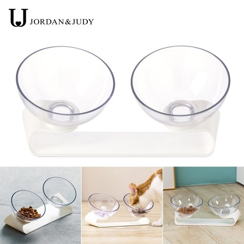 Jordan Judy Elevated Double Transparent Pet Feeding Bowl Cat Bowl with Raised Stand  15° Tilted Platform Cat Feeders Food and Water Bowls Raised The Bottom for Cats and Small Dogs