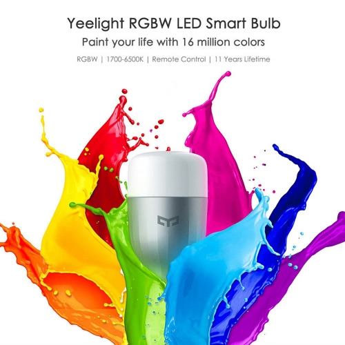 Original Xiaomi Yeelight LED Smart Bulb (Color Version) E27 9W 600 Lumens Mi Light Smart Phone WiFi Remote Control Adjustable Brightness Eyecare Light for iOS Android Phone