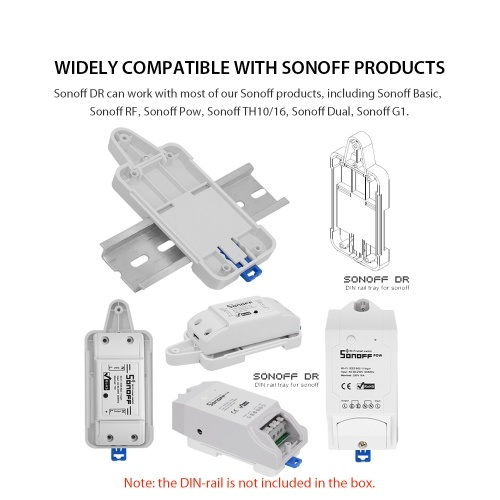 Sonoff DIN Rail Tray Adjustable Mounted Rail Case Holder For Wifi Remote Control Switch Sonoff Basic RF Pow TH10 TH16 Dual Smart Switch фото