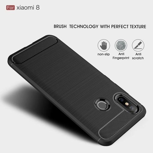 Чехол для телефона из углеродного волокна волочения проволоки TPU Защитная крышка телефона Простой Легкий протектор мобильного телефона для Xiaomi 8 фото