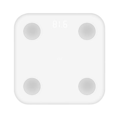 Xiaomi digitale intelligente Body Fitness Peso BT Fat scala Display a LED 5kg-150kg con IOS e Android App per la gestione Dimensione corporea / Analisi peso / massa muscolare / metabolismo basale / BMI / grasso Tasso / corpo Risultato / grasso viscerale Grade / acqua / massa ossea con Batteria