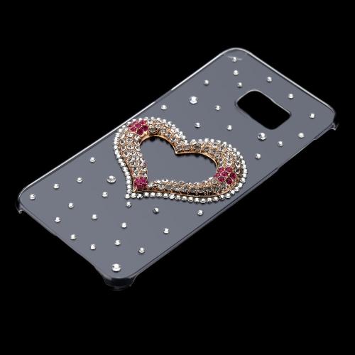 ラグジュアリー かわいい 3Dグリッター ハンドメイド クリスタル ブリンブリン ダイヤモンド クリア 透明ハード PCケース Samsung Galaxy S6 Edge Plus 5.7