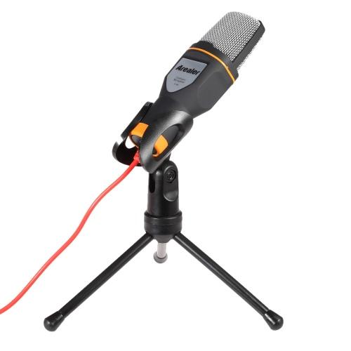 Arealer microfone com fio microfone de condensador com titular Clip para bate-papo cantar Karaoke PC Laptop