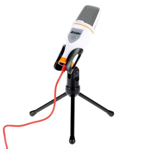 Arealer micro filaire Microphone à condensateur avec support Clip pour chat chant Karaoke PC portable