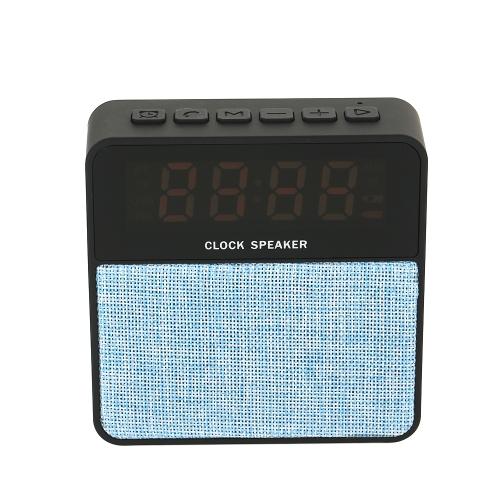 Portable Haut-Parleur Sans Fil BT Haut-Parleur Réveil Numérique Radio FM avec Fente Pour Carte TF Port USB AUX-IN pour Smartphones Ordinateurs Portables Tablettes