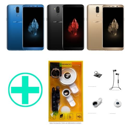 MEIIGOO S8 4 in1アクセサリーパックBTイヤホン+クリップ付き電話レンズ+セルフライト+リングスタンドランダムカラー