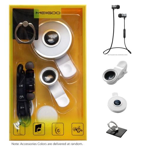 MEIIGOO S8 4 in1 Accessoires Pack BT Écouteur + Téléphone Clip-sur Lentille + Selfie Lumière + Anneau Stand Couleur Aléatoire
