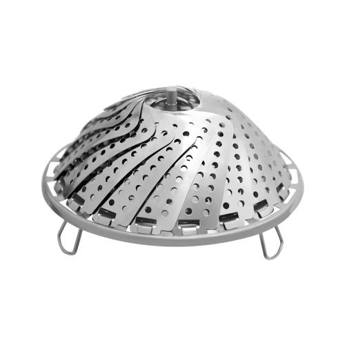 Yiwu Yishi Foldable Stainless Steel Steamer Tray Food Basket Mesh Vegetable Vapor Cooker Steamer Multi-Function Retractable Folding Kitchen Steaming Rack Tool Steamer