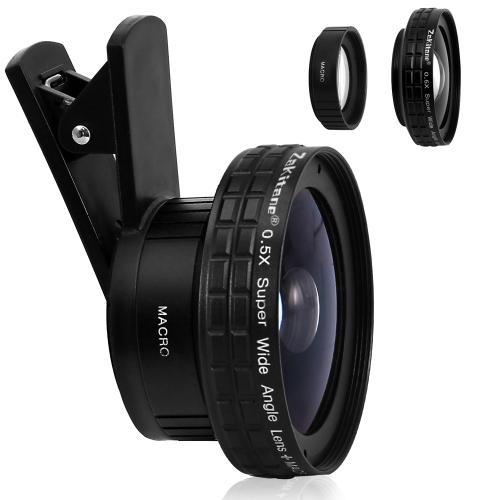 Zakitane Портативный объектив камеры 0.5X Super Wide Lens 15X Макрообъектив Клип-он-сотовый телефон Объективы для iPhoneX Samsung S8 Android / iOS Телефон Tablet PC Notebook