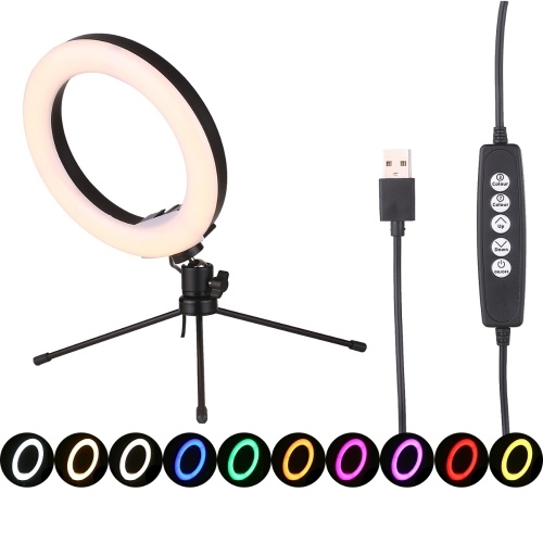 8 Inch Dimmable Selfie Ring Light USB Powered Desk Lamp LED Ring Light Nightlight with Flexible Tripod Stand 10 Brightness Level Warm/Neutral/Cold Light Mode 7 RGB Colors for Photography Portraits Photo Shoot Makeup