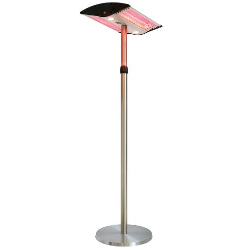 Parasol chauffant électrique sur pied à hauteur réglable chauffage type halogène lampe LED & télécommande - 2000W