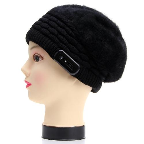 Fashion Warm Headset Winter Bluetooth Headphone Hat for Women Knitting Wool Listen Music Answer Phone Rabbit Hair Peaked Cap