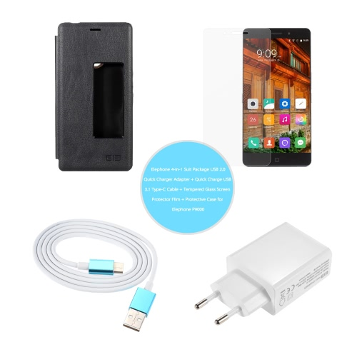 Elephone 4-in-1 Suit Package USB 2.0 Quick Charger Adapter + Quick Charge USB 3.1 Type-C Cable + Tempered Glass Screen Protector Film +   Protective Case for Elephone P9000