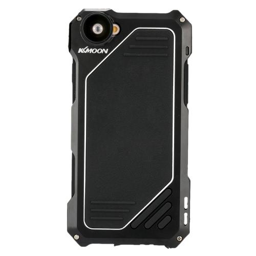 KKmoon 3 camada de alumínio celular caso cobrir temperado vidro tela protetora com 198 ° olho de peixe lente Macro Wide Lens para iPhone 6 / 6s
