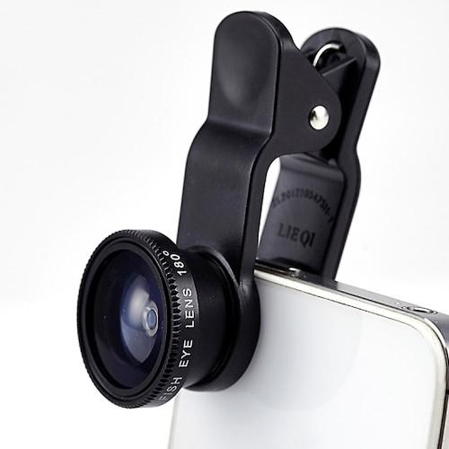LIEQI LQ-011 3 in 1 Optical Phone Glass Lens Fish Eye 0.65X Wide-angle Lens 10X Macro-lens for iPhone 6 6S 6 Plus 6S Plus iPad mini Air Samsung S6 S7 S7 edge Smartphone Tablet Alloy Frame Durable