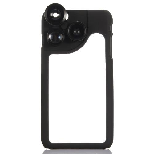 KKmoon 4-w-1 obiektyw zdjęcie do zdjęć 180 ° obiektyw Fisheye 120 ° szeroki kąt 2 x teleobiektyw 2 x zestaw do makr z obudową dla telefonu iPhone 6 Plus 6S Plus
