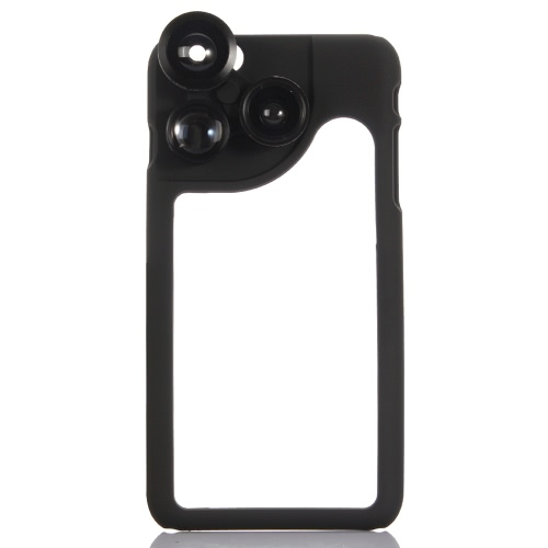 KKmoon 4-en-1 Téléphone Photo objectif 180° Fisheye 120° Grand Angle 2 X téléobjectif 2 X Macro en coffret pour l'iPhone 6 Plus 6 s Plus
