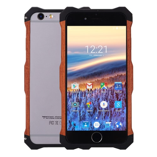 R-JUST Wooden Phone Case Protective Back Cover Shell + Back Cover Metal Frame for 4.7 Inches iPhone 6 6S Eco-friendly Material Stylish Portable Ultrathin Anti-scratch Anti-dust Durable