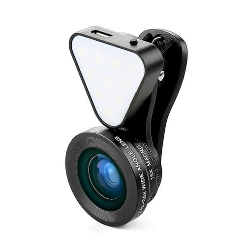 LIEQI LQ-035 3 in 1 Clip-on Optical Glass Lens HD 0.4x-0.6x grandangolare obiettivo 15X Macro-obiettivo con la torcia elettrica ricaricabile per iPhone 7 7 Plus 6 Plus 6S Inoltre mini iPad Air Samsung Note 7 S6 S7 S7 bordo Smartphone Tavoletta