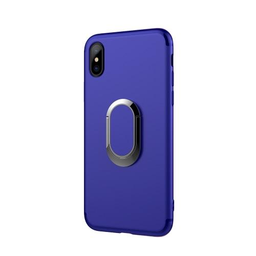 Caso de telefone Ultra-fino Soft Shell PC + TPU Shock-Absorption Anti-Scratch Proteção 360 ° Estojo de telefone celular Tampa protetora do compartimento traseiro com suporte de rolo de rotação de 360 ° para iPhone X