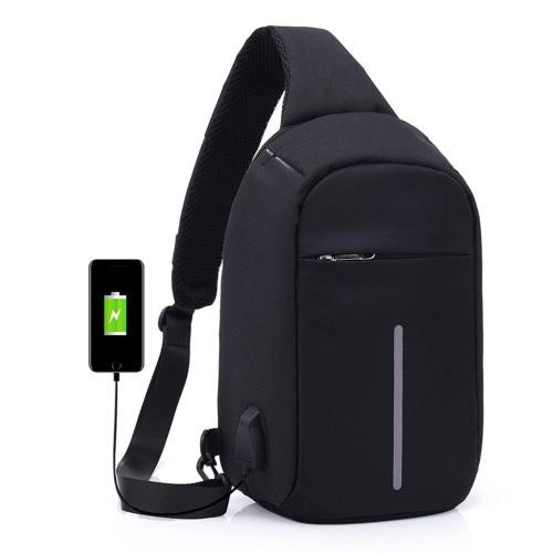 Saco de ombro anti-roubo com carga USB externa Crossbody Cofres Sacos Mochila para ciclismo Caminhadas Viagens ao ar livre Homens Mulheres Casual Reflective Stripe Black