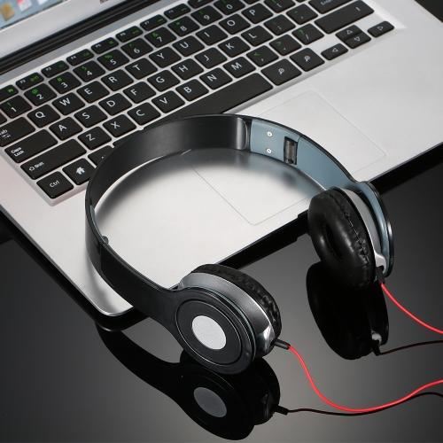 Fones de ouvido estéreo Auscultadores de alta definição auscultadores Auscultadores dobráveis Fones de ouvido de cabeça ajustável Unidade de driver de diâmetro de 40 mm Design a céu aberto com cabo de áudio de 3,5 mm para smartphones Comprimidos Laptops