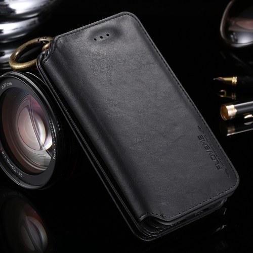 FLOVEME Универсальный кожаный кожаный кошелек телефонный чехол Защитный кожаный чехол для iPhone 6/7/8 Съемная раковина с держателями стойки фото