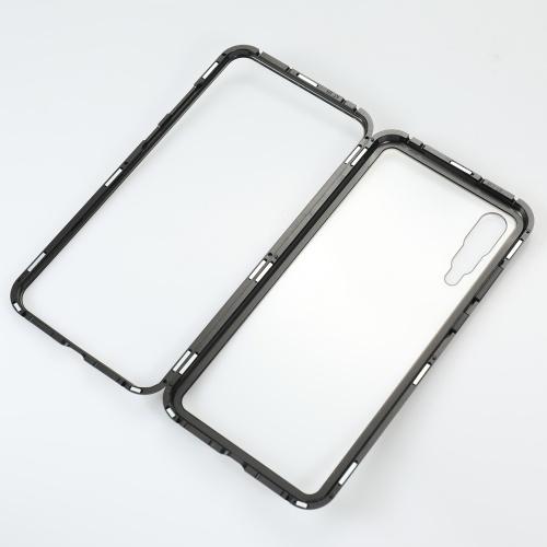 Custodia in metallo rinforzata con vetro temperato Protezione con adsorbimento magnetica Custodia protettiva con cover in alluminio di lusso per Huawei P20 Pro
