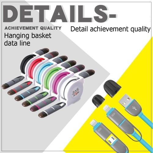Universal 2 in 1 Multi-function Retractable Cable 1M USB Data Sync Charging Data Line