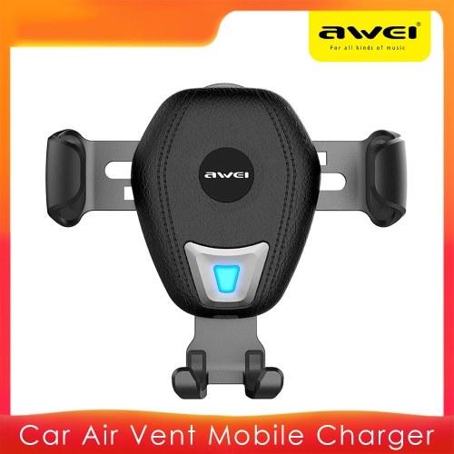 AWEI Carregador de Carro Ligação Gravidade Suporte Móvel Carregador sem Fio de Fixação Automática Suporte de Montagem de Ventilação de Ar