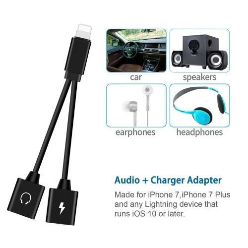 Mini Lightning Splitter Adapter Audio AUX Converter Adapter with Dual Lightning Ports Headphone Jack Charging Port for iPhone X 7 8 Plus