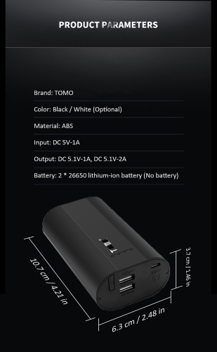TOMO A2 Power Bank 2 * 26650 Lithium Battery LCD Display Screen Micro USB Input Dual Output DIY Smart Portable Battery Box for Mobile Phone