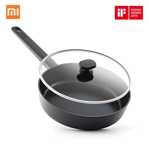 Xiaomi Mi Home Shuangli People Flat-bottom Pot Non-Stick Pot Fry Pan Flat Griddle Fuel Gas Cooker Universal Moderate Scale Convenient Practical For 2-3 People 24 Cm Black