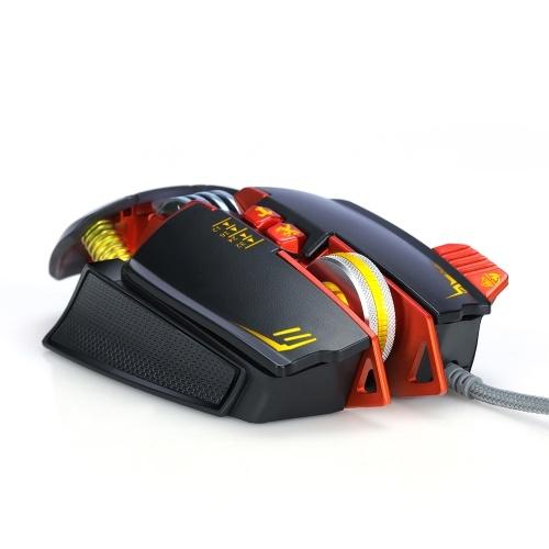 Mouse da gioco con cavo T-WOLF V9 Mouse retroilluminato a LED RGB con 7 modalità di retroilluminazione fino a 3200 DPI Mouse ergonomico con regolazione del peso per PC Gamer Windows